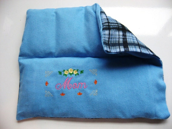 Microwave Heating Pad/ Cold Pack, Custom Embroidered for Mom,  All Natural, Eco Friendly