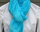 scarf crinkle cotton long fringe blue for women
