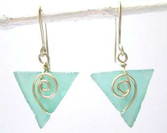 teal seaglass baby triangle earrings with spirals
