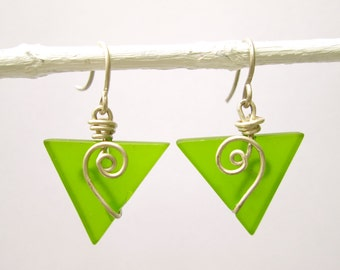 lime green seaglass baby triangle earrings with spiral