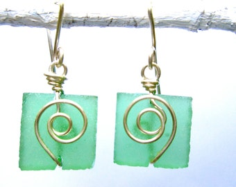 clover green seaglass square earrings with silver spirals