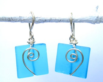 turquoise seaglass earrings with silver spiral