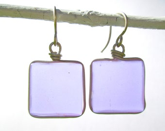 lilac seaglass square earrings with silver