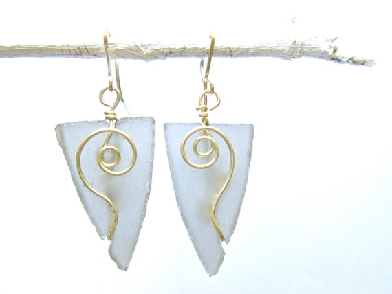 graphite colored seaglass-like arrowhead earrings