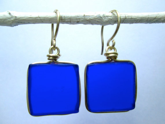 cobalt seaglass square earrings with silver