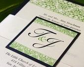 Elegant Wedding Invitations, Green and Black - Wedding Invitations, Damask Design, Invitation Suites - Sample Kit