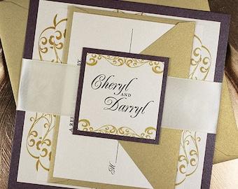 Wedding Invitation Eggplant Gold Elegant Wedding Invitation Suite with  Ribbon Belly Band - SAMPLE KIT - Wellington