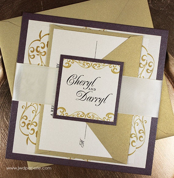 elegant wedding invitation suite with ribbon belly band sample kit