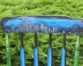 Hand Painted Seattle Skyline Rocker NEW LOWER PRICE