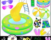 Pool Party Time INSTANT DOWNLOAD clipart graphics set with 15 items all digital with clear backgrounds