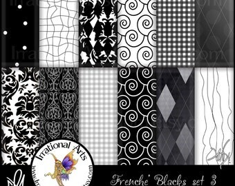 Frenche' Black and White set 3 INSTANT DOWNLOAD includes 12 Digital Scrapbooking Papers