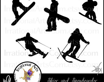 Skiing & Snowboarding Silhouettes - 5 png files - digital graphics clip art  [INSTANT DOWNLOAD]