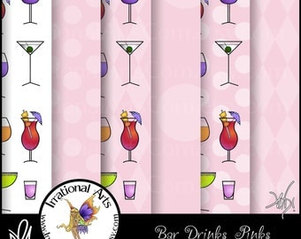 Bar Drinks Pinks Digital Scrapbooking Papers - 6 jpg files 300dpi [INSTANT DOWNLOAD]