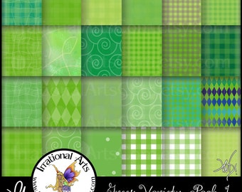 INSTANT DOWNLOAD 24 Greens Variety Pack 1 Digital Scrapbooking Papers with 24 jpg files 300dpi