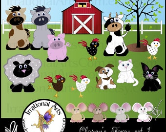 Clancy's Farm set 1 - 19 png graphics - sheep horse cow chickens mice pig bunny dog cat barn tree fence [INSTANT DOWNLOAD]