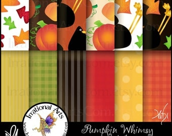 Pumpkin Whimsy set 1 Digital Scrapbooking Papers - 12 jpg files - Hallween Autumn Fall Colors, pumpkins, crows, leaves [INSTANT DOWNLOAD]