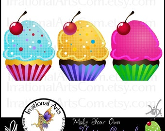 Build Your Own Happy Cupcakes - 40 Digital Clipart PNG files - Create your own fun whimsical cupcakes {Instant Download}
