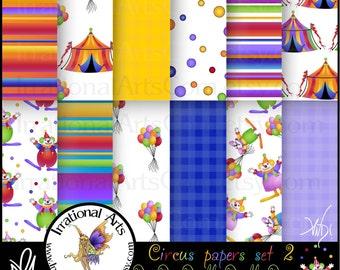 Circus Dee Dee Deedle Deedle Dee... set 2 - 12 jpg files for digital scrapbooking papers {Instant Download}