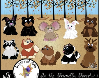 In the Friendly Forest set 1 - with 11 digital clip art graphics - raccoon bunnies bears deer fox beaver mouse skunk tree [INSTANT DOWNLOAD]