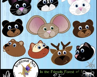 In the Friendly Forest Faces Set 1 - 10 png digital clipart graphics - raccoon, bunny, bear, deer, fox, etc {Instant Download}