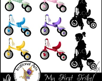 My First Trike  - Set of 8 tricycle graphics digital clipart - 6 in bright colors and 2 silhouettes [ INSTANT DOWNLOAD ]