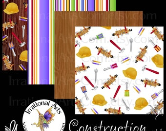 Construction set 1 - Digital Scrapbooking Papers 15 jpg files 300dpi - tool belt screwdrivers hard hat nails wrench [INSTANT DOWNLOAD]