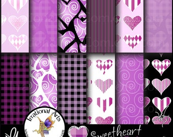 Sweetheart Pinks set 4 - Digital Scrapbooking Papers 12 jpg files 300dpi - Valentines Day Hearts galore [INSTANT DOWNLOAD]