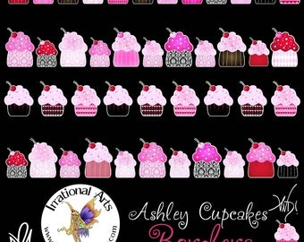 Ashley Cupcakes and Cupcake Borders with 4 Digital Clipart Graphic png files { Instant Download }