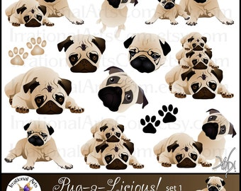 Pug-a-Licious Pug Dog Graphics set 1 INSTANT DOWNLOAD with 13 digital graphics with 3 adorable pugs includes faces and paw prints