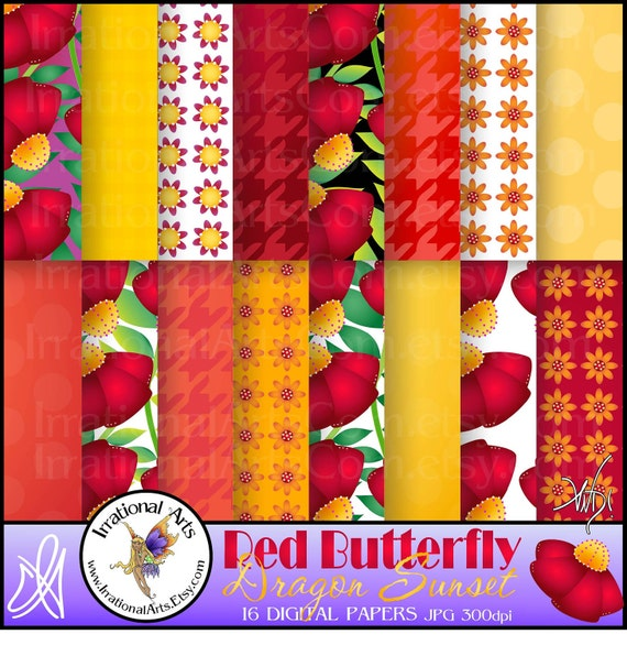 Red Butterfly Dragon Sunset set 1 - digital files 16 Scrapbooking Papers - Red Orange & Yellow flowers and patterns [INSTANT DOWNLOAD]