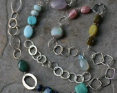 Five O'Clock Somewhere - Long Multi Gem Necklace with Sterling Links