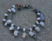 Hydrangea Bracelet - Chalcedony and Crazy Lace Agate - Five O'Clock Somewhere