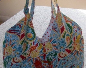 Resort Beach Bohemian Slouch Tote Bag md/with Lilly Pulitzer Fabric orange