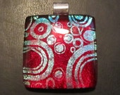 Red Bullseye fused glass pendant
