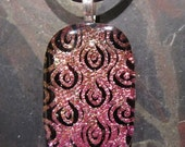 SALE  Burning Up For Your Love fused glass pendant