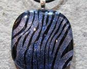 Fused Glass Pendant: Periwinkle Zebra