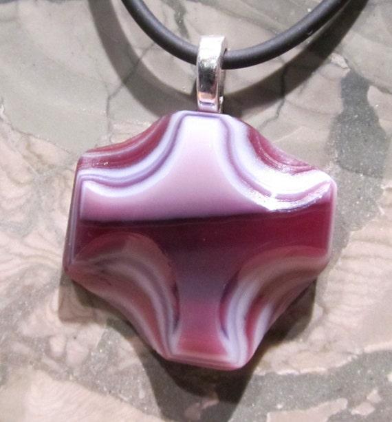 Fused glass pendant: Don't Be Cross Mini
