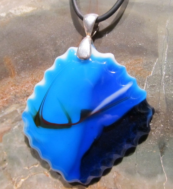 Fused Glass Pendant: Mysteries In The Blue