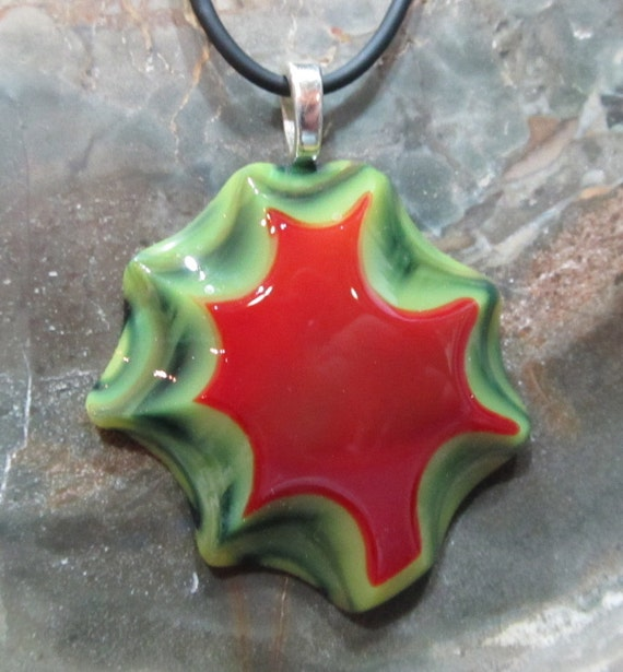 Fused Glass Pendant: Cranberry and Moss Star SALE