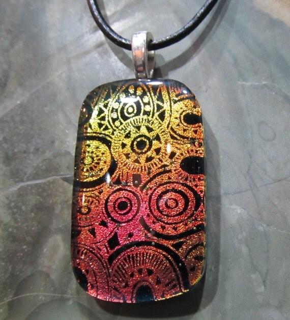 Fused Glass Pendant with 18 inch leather necklace: Slightly Orange Clockwork