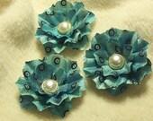 3 Piece Set of Very Elegant Vintage Inspired Scrapbook Paper Flowers