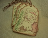 Christmas Tags...6 Piece Set of Very Lovely Merry Santa Vintage Inspired Scrapbooking/Gift Tags