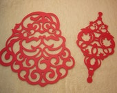Ornament and Santa Paper Lace...2 Piece Set of Very Elegant Santa Claus and Christmas Ornament Paper Die Cut Scrapbooking Embellishment
