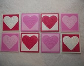 Scrapbook Tags...8 Piece Set of Very Sweet and Sassy Valentine Embossed Scrapbooking Tags