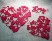 Heart Paper Lace...3 Piece Set of Very Lovely Heart Paper Laces and Sentiment Scrapbooking Die Cut Embellishments