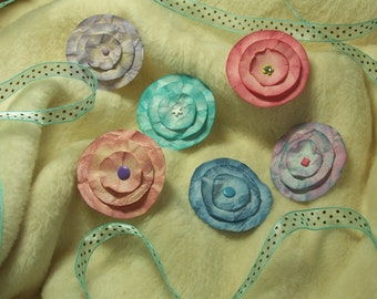Scrapbook Flowers...6 Piece Set of Very Lovely Lollipop Scrapbook Paper Flowers