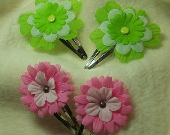 Hair Accessories...2 Sets of Very Pretty Pink and Lime Hair Clips