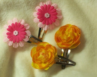 Hair Accessories...2 Sets of Very Pretty Sunny Yellow and Tickle Me Pink Hair Clips