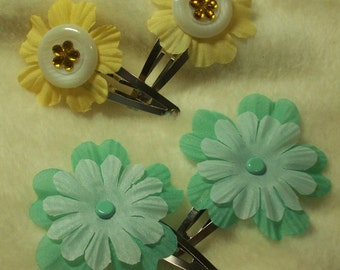2 Sets of Very Adorable Buttercup and Teal Hair Clips