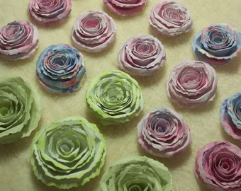 Scrapbook Flowers...18 Piece Set of Very Beautiful Scrapbook Rolled Paper Flower Roses